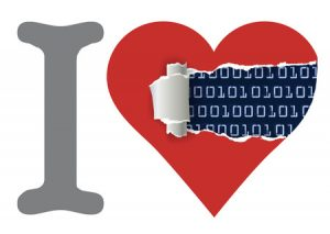 35762370 - i love computers. heart with torn paper uncovering binary code. vector illustration.